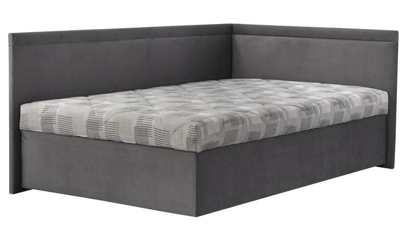 Rohová postel Travis pravá 120x200, šedá látka