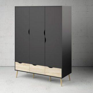 Třídveřová retro šatní skříň Oslo 75468 černá/dub sonoma - TVI
