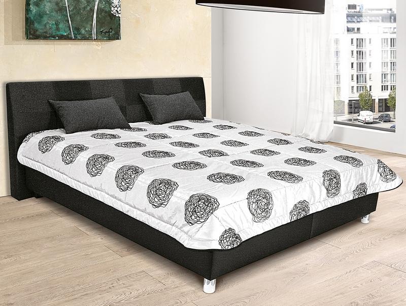 Postel Nice 180x200 cm, černá ekokůže/antracitová tkanina
