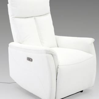 Polohovatelné relaxační TV křeslo FM-555P, bílá ekokůže