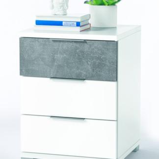 Vyšší noční stolek Anton, bílá/beton