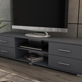 Široký TV stolek Oskar TV, grafitový, šířka 180 cm