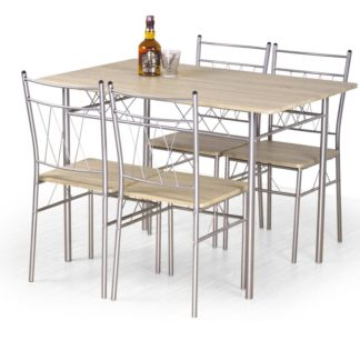 Jídelní set FAUST dub sonoma stůl + 4 židle Halmar