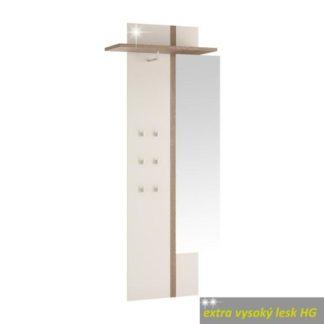 Věšákový panel se zrcadlem LYNATET TYP 115 bílá vysoký lesk / dub sonoma tmavý Tempo Kondela