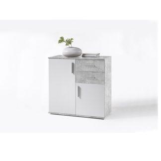 Komoda POPPY 4 bílá / beton Tempo Kondela