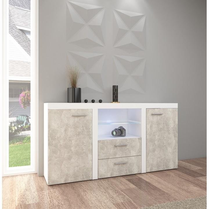 Komoda ROCHESTER beton světlý / bílá Tempo Kondela