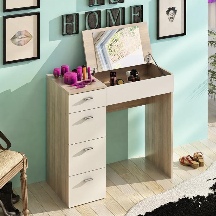 Toaletní stolek BELINA dub sonoma / bílá Tempo Kondela