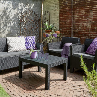 ORLANDO + SMALL TABLE - grafit+šedé podušky Allibert