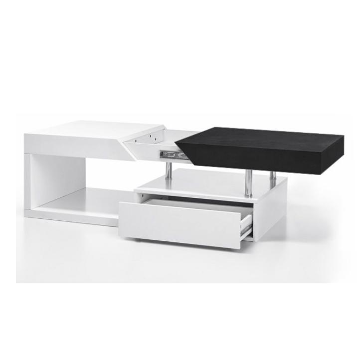 Konferenční stolek MELIDA bílý lesk / černé dřevo Tempo Kondela