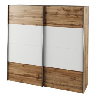 Šatní skříň s posuvnými dveřmi GABRIELA dub wotan / bílá Tempo Kondela