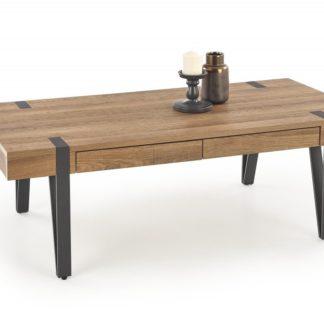 Konferenční stolek se šuplíky TULUZA ořech medový / černá Halmar