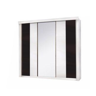 Šatní skříň 3-dveřová RUBLIN bílá / černá Tempo Kondela