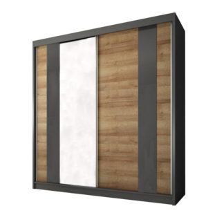 Šatní skříň s posuvnými dveřmi MANNO 2D dub riviera zlatý / grafit Tempo Kondela