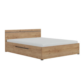 Manželská postel UTAH 160x200 dub grandson zlatá / uni šedá Tempo Kondela