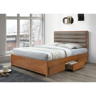 Manželská postel BETRA ořech / béžová Tempo Kondela 180 x 200 cm