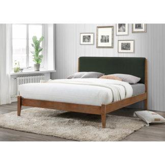 Manželská postel NOLAS 183x200 cm ořech / tmavě zelená Tempo Kondela