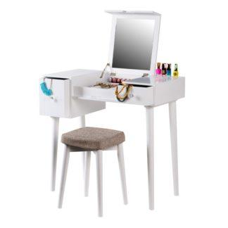 Toaletní stolek s taburetem MARVEL bílá / hnědá Tempo Kondela