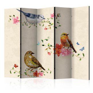 Paraván Bird Song Dekorhome 225x172 cm (5-dílný)