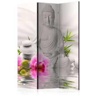 Paraván Buddha and Orchids Dekorhome 135x172 cm (3-dílný)