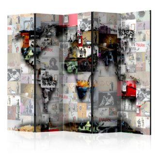 Paraván World map – Banksy Dekorhome