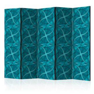 Paraván Geometric Turquoise Dekorhome 225x172 cm (5-dílný)