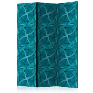 Paraván Geometric Turquoise Dekorhome 135x172 cm (3-dílný)