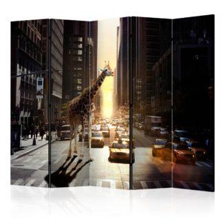 Paraván Giraffe in the Big City Dekorhome 225x172 cm (5-dílný)