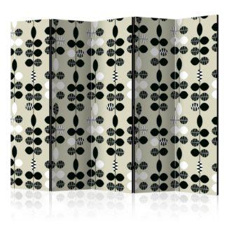 Paraván Black and White Dots Dekorhome 225x172 cm (5-dílný)