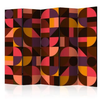 Paraván Geometric Mosaic (Red) Dekorhome 225x172 cm (5-dílný)