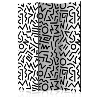 Paraván Black and White Maze Dekorhome 135x172 cm (3-dílný)