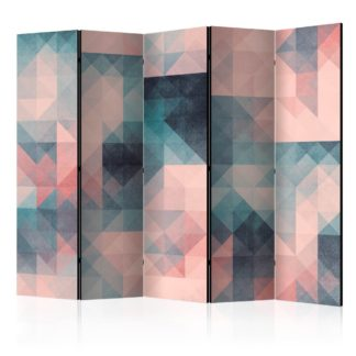 Paraván Pixels (Green and Pink) Dekorhome 225x172 cm (5-dílný)