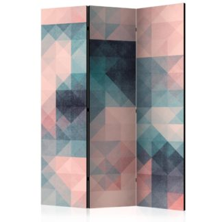 Paraván Pixels (Green and Pink) Dekorhome 135x172 cm (3-dílný)