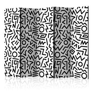 Paraván Black and White Maze Dekorhome 225x172 cm (5-dílný)