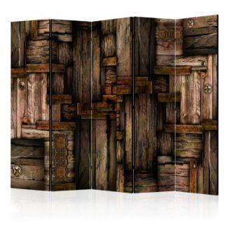 Paraván Wooden puzzle Dekorhome 225x172 cm (5-dílný)