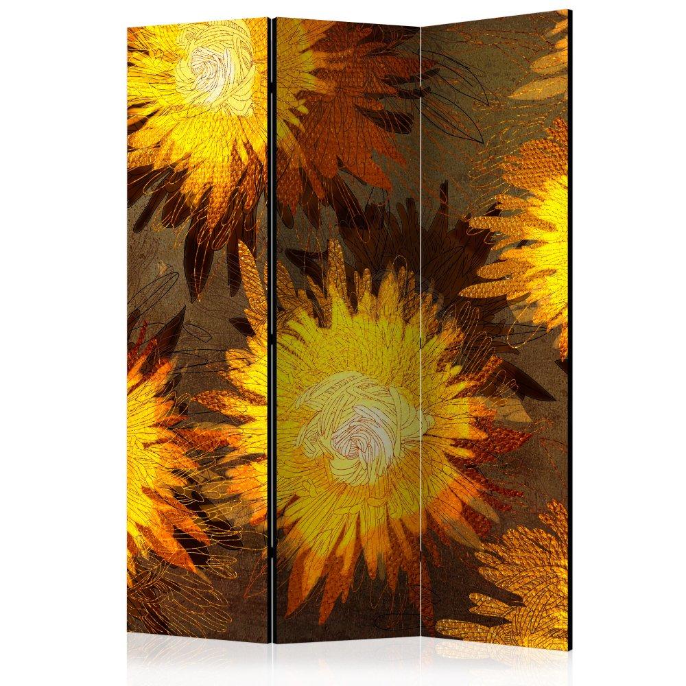 Paraván Sunflower dance Dekorhome 135x172 cm (3-dílný)