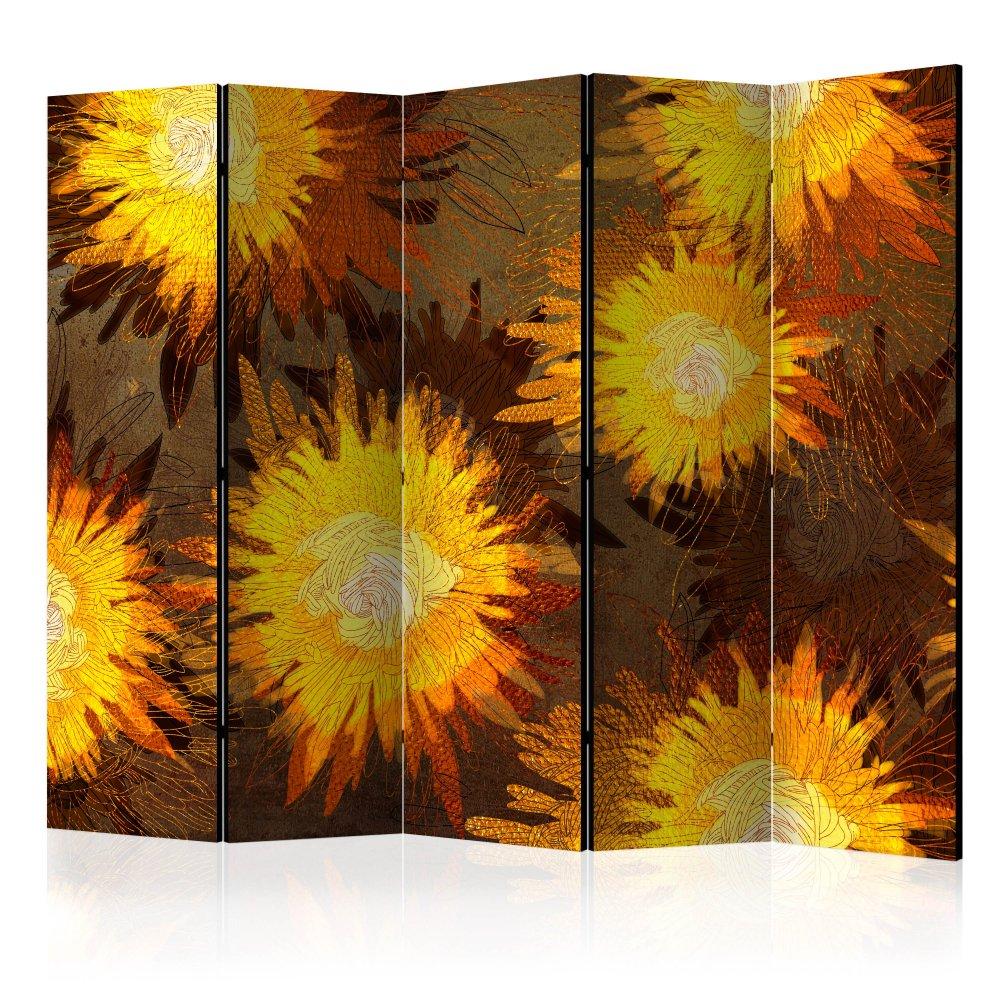 Paraván Sunflower dance Dekorhome 225x172 cm (5-dílný)