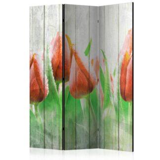 Paraván Red tulips on wood Dekorhome 135x172 cm (3-dílný)