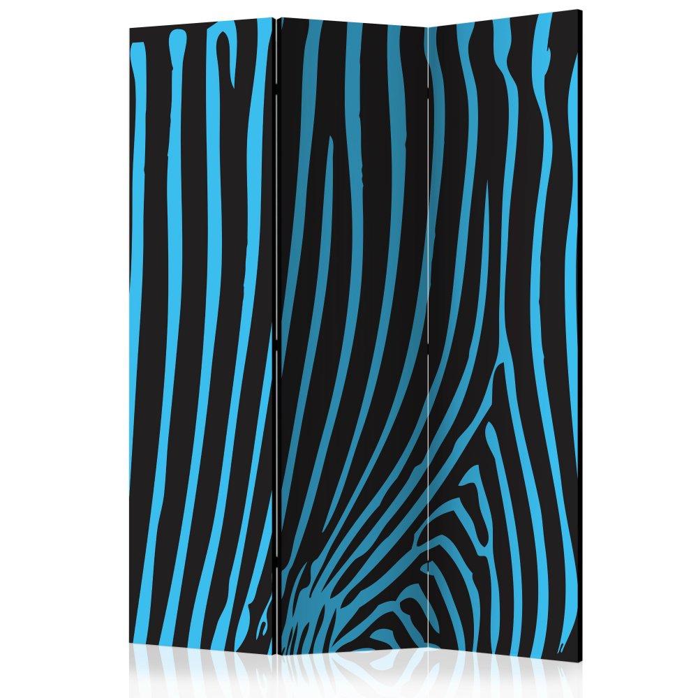 Paraván Zebra pattern (turquoise) Dekorhome 135x172 cm (3-dílný)