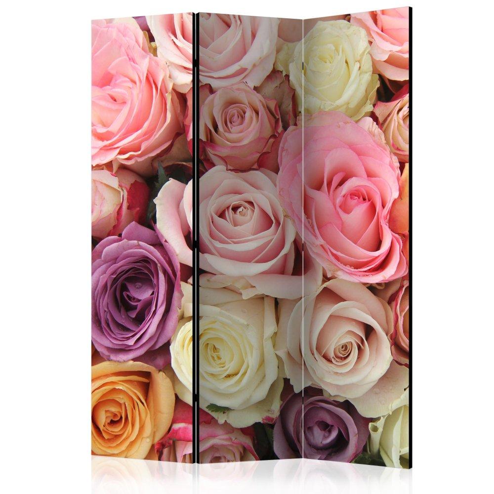 Paraván Pastel roses Dekorhome 135x172 cm (3-dílný)