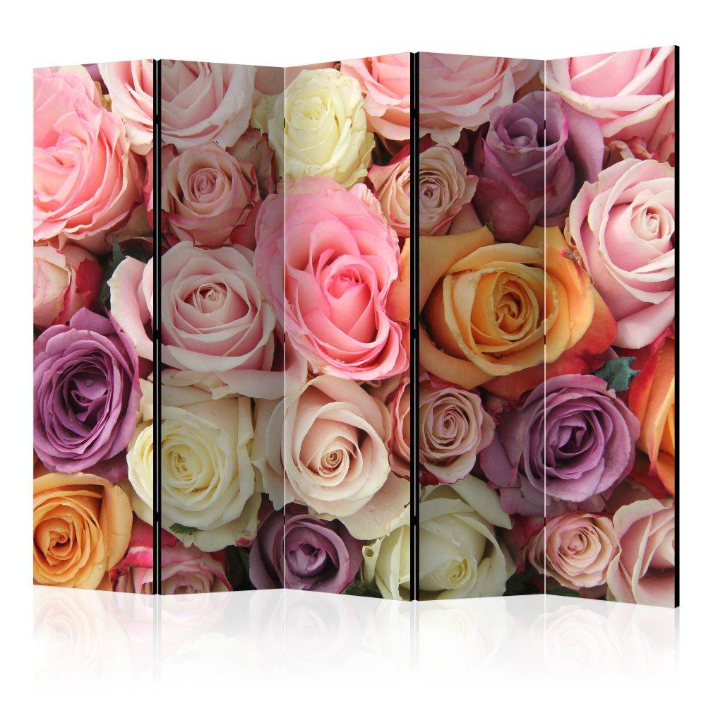 Paraván Pastel roses Dekorhome 225x172 cm (5-dílný)