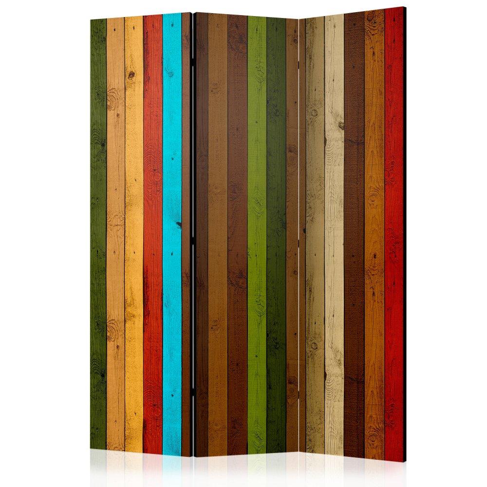Paraván Wooden rainbow Dekorhome 135x172 cm (3-dílný)
