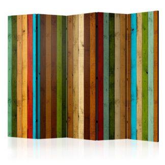 Paraván Wooden rainbow Dekorhome 225x172 cm (5-dílný)