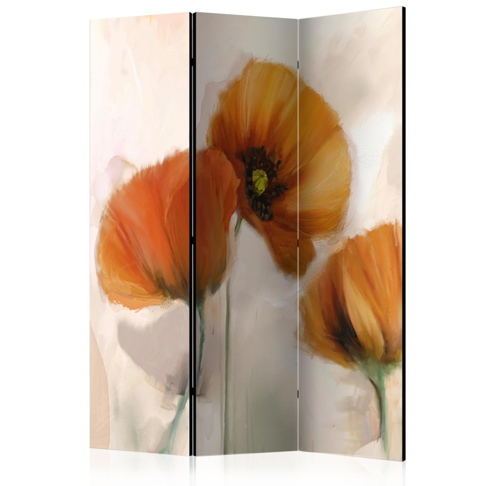 Paraván poppies - vintage Dekorhome 135x172 cm (3-dílný)