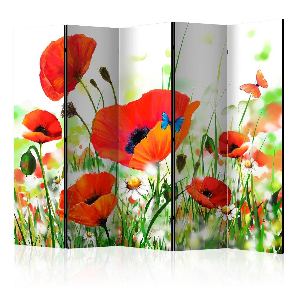 Paraván Country poppies Dekorhome 225x172 cm (5-dílný)