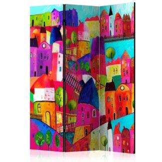Paraván Rainbow-hued town Dekorhome 135x172 cm (3-dílný)
