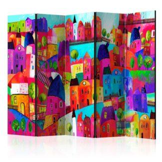 Paraván Rainbow-hued town Dekorhome 225x172 cm (5-dílný)