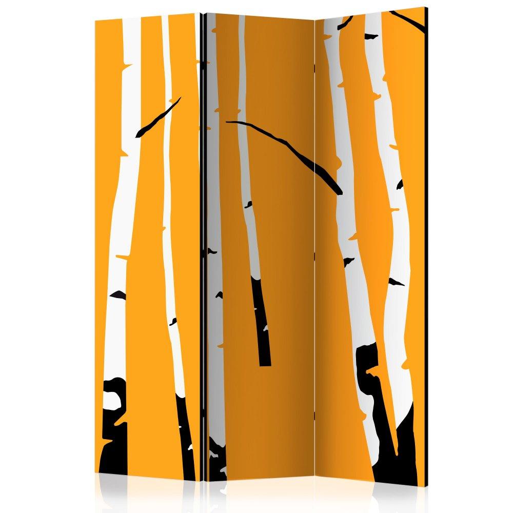 Paraván Birches on the orange background Dekorhome 135x172 cm (3-dílný)