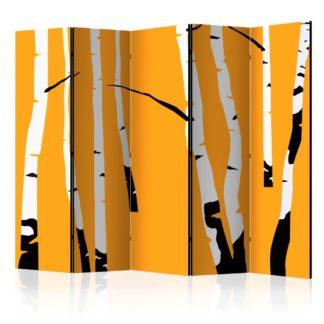 Paraván Birches on the orange background Dekorhome 225x172 cm (5-dílný)