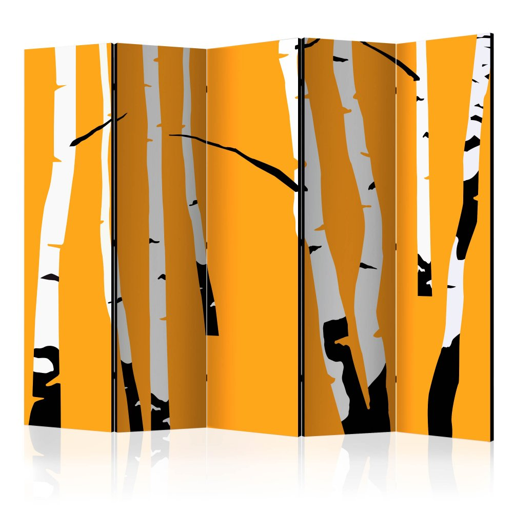 Paraván Birches on the orange background Dekorhome 225x172 cm (5-dílný)