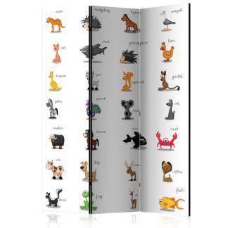 Paraván Learning by playing (animals) Dekorhome 135x172 cm (3-dílný)